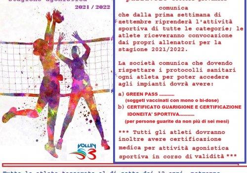 CITTA' DI CASTELLO PALLAVOLO - Inizio stagione 2021/2022  GREEN  PASS